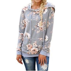 Tops - Grey floral hoodie